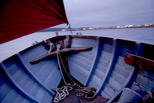 An Sgoth at dusk in Stornoway harbour