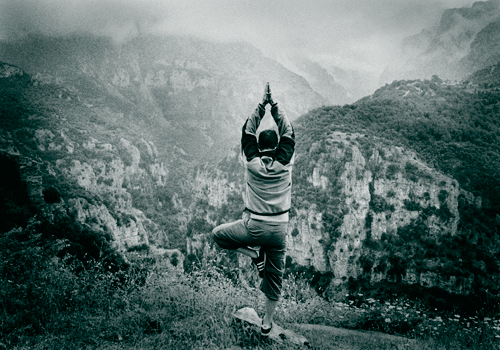 My feble Yoga pose on the lip of Vikos Gorge, Zagoria, North west Greece.